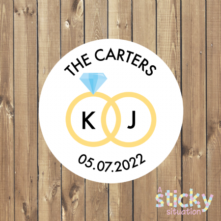 Personalised Wedding Stickers - Rings Design